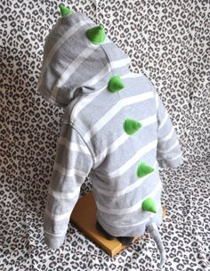 Upcycled Baby Dino Hoodie Grey Stripes with Green by KendallMade, $40.00