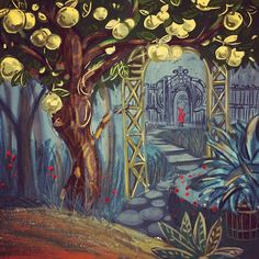 Heres a mixup of a path and a secret for Im having both a lot of fun and struggle with the assignments:) . Golden Apple, Yellow Art, Illustration Artists, Art Challenge, Fairytale, Paths, Mystery, Sketches, Fun