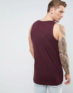 ASOS Longline Muscle Tank In Red - Red