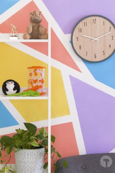 Brighten up the room with this colourful wall feature. Masking tape and different paint shades = this epic paint job! Geometric Wall Paint, Paint Shades, Masking Tape, Facebook Sign Up, Wall Colors, Kids Rugs, Creative, Room, Diy