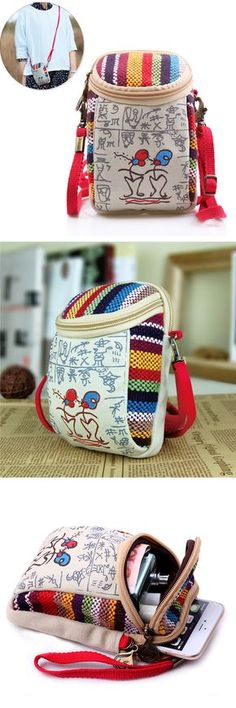 US$8.66 Women Canvas Vintage 5.5 Inches Phone Bag Multifunctional Crossbody Bag Clutch