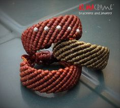 Items similar to Macrame jewelry, handmade rings in macrame, brown and green rings with silver beads on Etsy Macrame Rings, Macrame Necklace, Macrame Knots, Macrame Jewelry, Macrame Bracelets, Micro Macrame Tutorial, Macrame Bracelet Tutorial, Handmade Rings, Handmade Jewelry