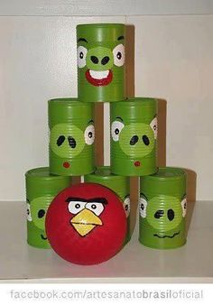 Angry Birds Can Toss Game using cans and paint. Would be a good idea for Kieran. He loves Angry Birds. I afraid I don't see what is so great about Angry Birds, but it might be a good idea for Kieran. Christmas Gifts For Boys, Handmade Christmas Gifts, Homemade Christmas, Christmas Diy, Christmas Presents, Kids Presents, Cool Gifts For Boys, Diy Kid Gifts, Christmas Quotes