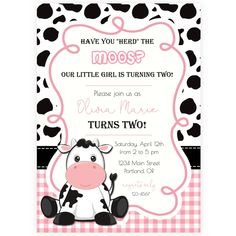 Cow Birthday Party Invitation | Forever Your Prints