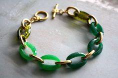 jade ombre gold link bracelet