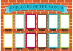 Employee Of The Month Wall Vector . Choose from thousands of free vectors, clip art designs, icons, and illustrations created by artists worldwide! Employee Morale, Staff Morale, Office Bulletin Boards, Morale Boosters, Fall Coloring Pages, Wall Of Fame, Employee Recognition, Arts And Crafts House, Frame Template