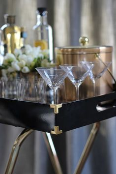 Weekend decorating idea: set up bar cart for holiday entertaining