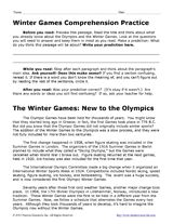 Winter Olympic Games: Reading Comprehension Worksheet - TeacherVision.com