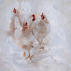 Flock of chickens painting