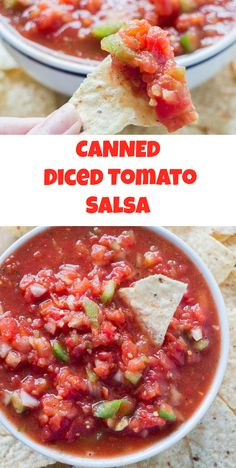 You can make this delicious salsa with canned diced tomatoes! Just add green peppers and onions! It's a great salsa that you can have ready in minutes! Easy Canned Salsa Recipe, Canning Homemade Salsa, Canned Tomato Recipes, Tomato Salsa Recipe, Canning Recipes, Recipes With Diced Tomatoes, Salsa With Canned Tomatoes, Canning Diced Tomatoes, Mexican Food Recipes