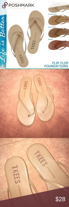 TKEES~Cocobutter FOUNDATIONS~Flip Flip Sandals~10 TKEES leather flip flops feature a slim thong strap for the perfect beach to night shoes! Rubber soles..great condition. Marked EUR41 not 40..but do fit size 10. TKEES Shoes Sandals