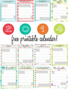 2014 Printable Monthly Calendar ❤ Sweetbottoms Baby Boutique