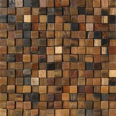 Lindsea - Reclaimed wood mosaic tile made out small squares in various colors