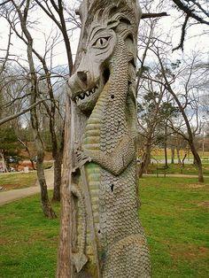 Montevallo, Alabama Tim Tingle Tree Carvings in Orr Park