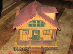 Converse lithographed Wood Dollhouse Wood Bungalow 1914 It's Awesome | eBay