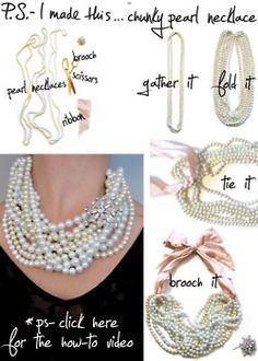 DIY: pearl necklace <3 this!