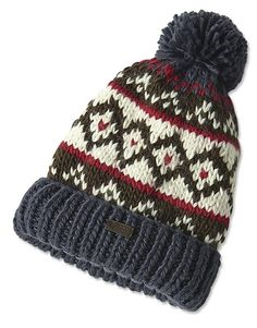 Be ready for snow and windy days in this warm chunky-knit hat by Barbour. Made of a supersoft wool/acrylic-blend yarn, the casual topper features a distinctive Nordic pattern, rib-knit trim, and a leather Barbour logo patch. In navy. One size fits most. Acrylic. Hand wash or dry clean. Imported.