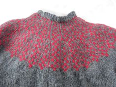 """Detail of yoke of the Missing Lopi Sweater, from """"Icelandic Handknits"""" by Helene Magnusson, handknitted by LL"""