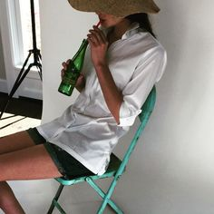 Topochico on the Pintuck set with model, Madison. #guayabera