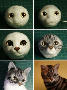 Kitten with head tilt - Needle felted cat showing underlying armature and finished cat. Needle felted cat showing underlying armature and finished cat. Wool Needle Felting, Needle Felting Tutorials, Needle Felted Animals, Wet Felting, Felt Animals, Felt Cat, Cat Crafts, Felt Toys, Felt Ornaments