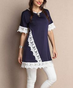 Loving this Navy Lace-Trim Tunic Dress - Plus on #zulily! #zulilyfinds
