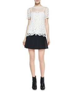 Nancy Sheer Netted/Lace Blouse & Montrose Flared Leather-Panel Skirt by Rag & Bone at Neiman Marcus.