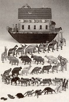 antique noah's ark | German hand-painted wooden Noah's Ark with 250 carved animals, insects ...