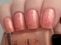 Avon Nailwear Pro - Painted Peony stamped with Pueen 73's roses