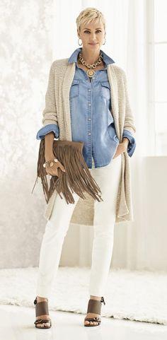 Tan vest/ cardigan, chambray shirt, white pants, brown sandal