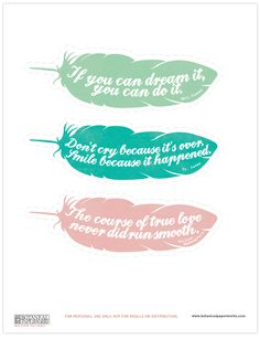 FREE printable bookmarks that feature quotes from famous authors.