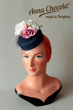 1940s 50s PILLBOX HAT BURLESQUE navy pink ROSES veil Anna Chocola ® Brighton