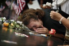 A woman at the National September 11 Memorial, Sunday, Sept. mourns the loss of her son who died during attacks at the World Trade Center, Sept. We Will Never Forget, Lest We Forget, Always Remember, World Trade Center, Westerns, Thing 1, September 11, Historia, American History