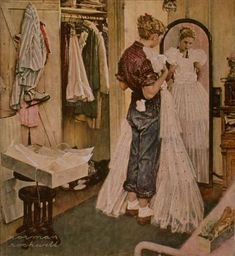 "Love his work. The late Norman Rockwell. Norman Rockwell painting Norman Rockwell - I love his artwork! ""Dress"" by Norman Rockwell, date unknown ・ Style: Regionalism ・ Genre: genre painting Norman Rockwell Prints, Norman Rockwell Paintings, Peintures Norman Rockwell, Illustrations, Illustration Art, Grand Art, Creation Art, The Saturdays, Disney Drawings"