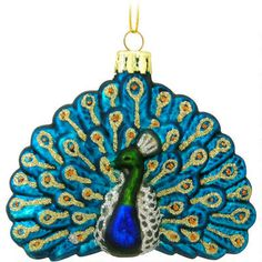 Peacock Glass Ornament-I seen something very similar at Wal-Mart and now I want a peacock themed tree, I do have a white tree I could use, hmmm