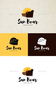 Sun Bear Logo by Y-E-T-I editable logo EPS, PNG files to change color and text font Brand Identity Design, Branding Design, Logo Branding, Corporate Branding, Logo Ad, Logo Design Template, Logo Templates, Sunny Logo, Nature Green