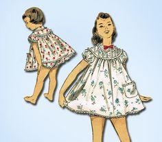 1950s Vintage Advance Sewing Pattern 7803 Toddler Girls Shortie Pajamas Size 6 #Advance #PajamasPattern