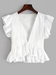 Occasion: Daily Style: Fashion Collar: Plunging Collar Material: Cotton,Polyester Shirt Length: Short Sleeves Length: Short Pattern Type: Solid Decoration: Ruffles Seasons: Spring,Summer Weight: Package: 1 x Blouse Vestidos Plus Size, Mini Vestidos, Cute Blouses, Blouses For Women, Bluse Outfit, Summer Outfits, Cute Outfits, Blouse Designs, Blouse Patterns