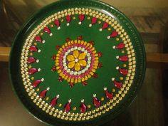 green decorated thali