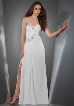 White Chiffon A Line Evening/Military Ball Dress