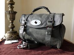 c4abd27a51 Mulberry Regular Alexa in Gunmetal Sparkle Tweed Leather - SOLD