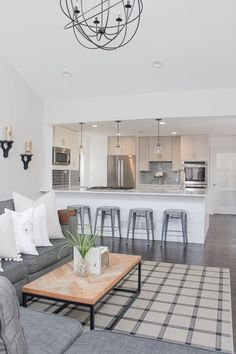 Open Concept Living Room and Kitchen | Open Concept Living Room | Open Concept Kitchen | Shiplap Island | Herringbone TableTop | Neutral Home D�cor Ideas | Lovesac Sactional | White and Gray Kitchen | Modern Farmhouse Decor #ModernDecor