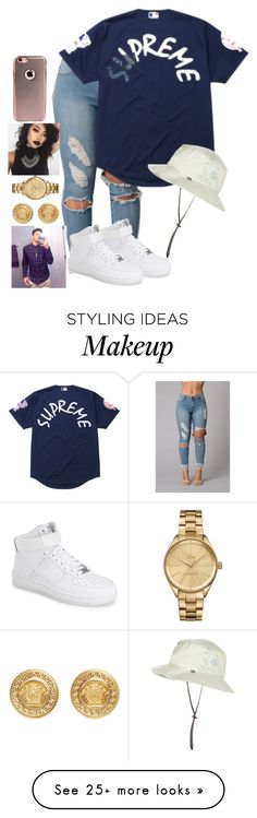 """Day out with bae"" by lexiii-caniff on Polyvore featuring NIKE, Supreme, Sunday Afternoons, Versace and Lacoste"