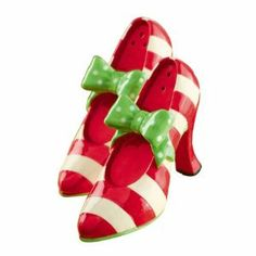 """Grasslands Road Fabulous Chris Miss Shoe or Boot Salt & Pepper Shakers, Choice of Styles (green bow) by Grasslands Road. $10.00. choose from zebra pump (zp), zebra boot (zb), red boot (rb), red pump (rp) or green bow (gb). ceramic. boxed. 2 1/2"""" x 3 1/2"""" x 1 1/4"""". Grasslands Road's Fabulous Chris Miss Shoe or Boot Salt & Pepper Shakers make great gifts for all your shoe loving girlfriends."""