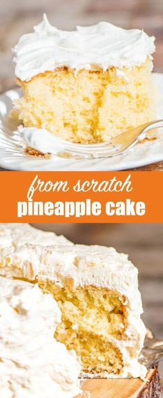 A from-scratch pineapple snack cake with a simple whipped cream topping, or double the recipe for a layer cake with easy pineapple frosting! Pineapple Snack Cake Easy Recipe with Layer Cake Instructions via Pineapple Cake Recipes From Scratch, Coconut Cake From Scratch, Dessert From Scratch, Pineapple Dessert Recipes, Coconut Pineapple Cake, Pinapple Cake, Easy Pineapple Cake, Pineapple Frosting, Pineapple Layer Cake Recipe