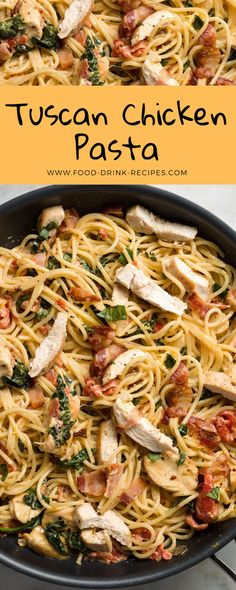 Full with sautéed volaille breasts and tender statesman, this satisfying spaghetti recipe gift satisfy still the pickiest eaters. Consider unbound to use either spaghetti or patron fuzz (as in the recording). Spaghetti Recipes, Pasta Recipes, Chicken Recipes, Dinner Recipes, Cooking Recipes, Italian Recipes, New Recipes, Healthy Recipes, Tuscan Chicken Pasta