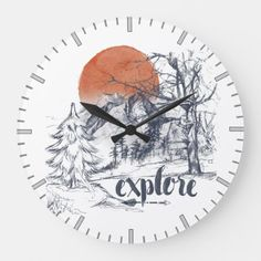 Explore Wilderness Mountain Sunset Large Clock nature hiking, baby hiking backpack, outdoorsman gifts #Birthday #camping #campinggifts, back to school, aesthetic wallpaper, y2k fashion Rei Camping, Backyard Camping, Camping Tricks, Winter Camping, Camping Checklist, Camping Meals, Baby Hiking, Hiking Dogs, Hiking Gear