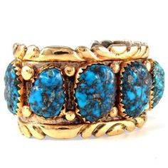 Alvina Quam Bracelet 14k Gold Overlay on Silver with Bisbee Turquoise