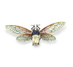 AN ART NOUVEAU DIAMOND, SAPPHIRE AND ENAMEL BROOCH, BY BOUCHERON  Designed as a bumblebee with a rose-cut diamond and fancy-cut sapphire body, an old European and rose-cut diamond head and antennae, and cabochon cat's eye chrysoberyl eyes, extending pale greenish blue and lavendar plique-à-jour enamel wings, mounted in 18k yellow and white gold, circa 1895, 3¾ x 1½ ins., with French assay marks, in a burgundy leather fitted case  With maker's mark for Boucheron