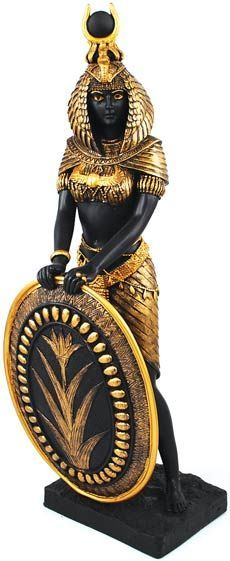 This statue portrays the beloved Egyptian Goddess Isis as elegantly fierce and motherly, gazing out with a serene expression while she holds a shield marked with a symbol of the rebirth of the Nile.
