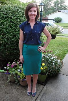 Navy blue blouse and teal pencil skirt, patterned heel - like this color combo | H Style Journey